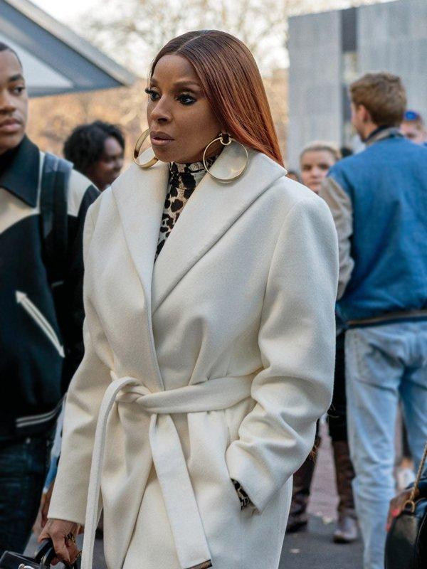 Tv Series Power Book II Ghost Mary J. Blige White Wool Coat