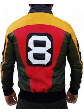 8 Ball Seinfeld David Puddy Tricolor Bomber Leather Jacket