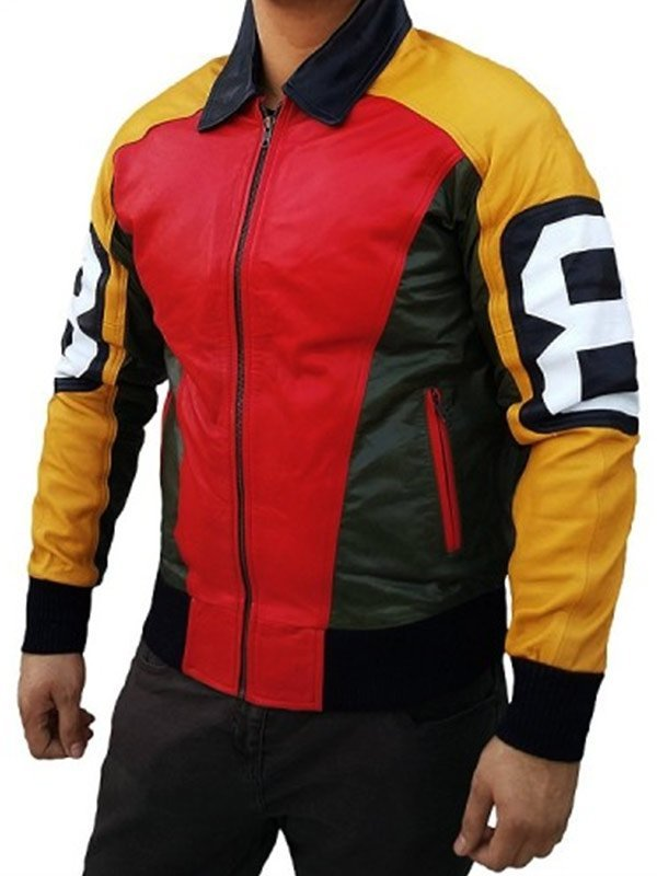 8 Ball Seinfeld David Puddy Tricolor Leather Jacket
