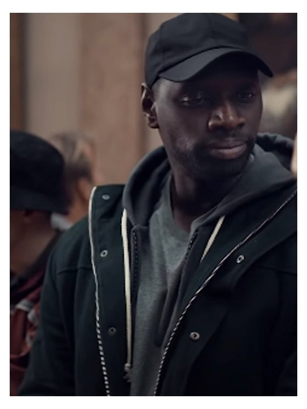 Assane Diop Lupin Omar Sy Wool Black Hooded Jacket