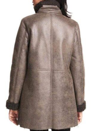 Asymmetrical Zip Faux Fur shearling Brown Leather Coat For Women