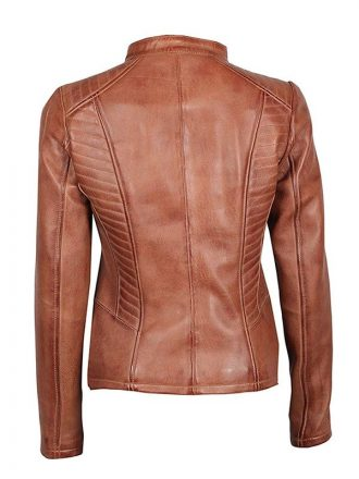 Brown Cognac Fitted Leather Jacket For Women's