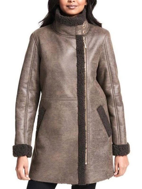 Brown Shearling Leather Coat For Women