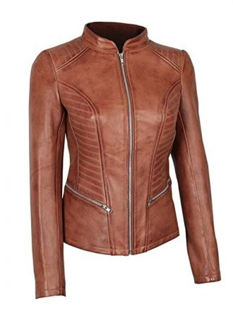 Buy Now - Women's Fitted Brown Cognac Leather Jacket