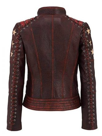Cafe Racer Vintage Style Red Waxed Leather Jacket For Womens