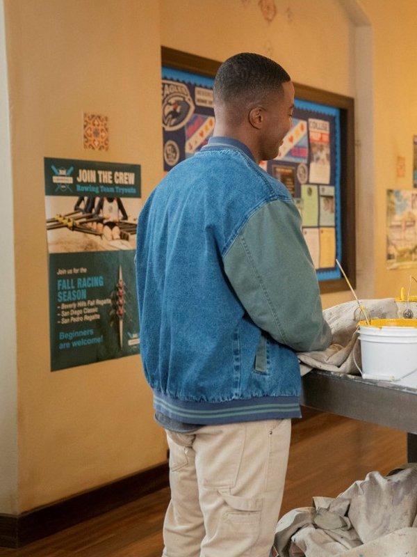 Daniel Ezra All American Spencer James Blue Denim Bomber Jacket
