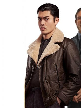 Dry Eye The Gentlemen Henry Golding Brown Shearling Leather Jacket