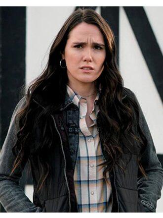 Eden Brolin Yellowstone S03 Mia Black Puffer Vest