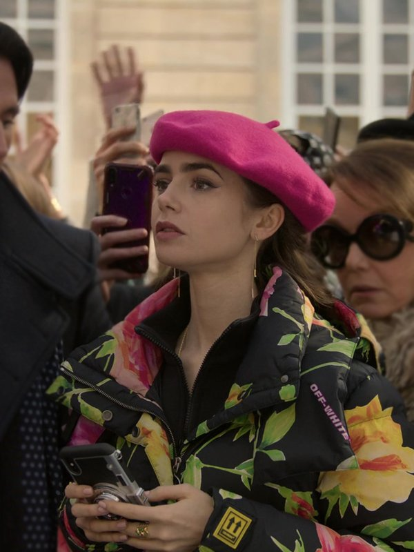Emily Cooper Emily In Paris Lily Collins Black Floral Puffer Jacket