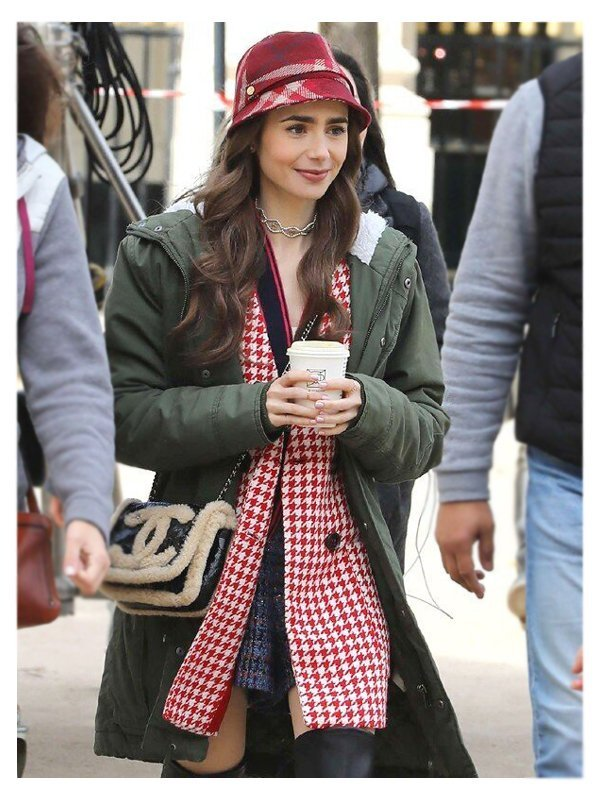 Emily Cooper Emily in Paris Lily Collins Hooded Green Cotton Coat
