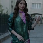Emily In Paris Lily Collins Green Leather Jacket