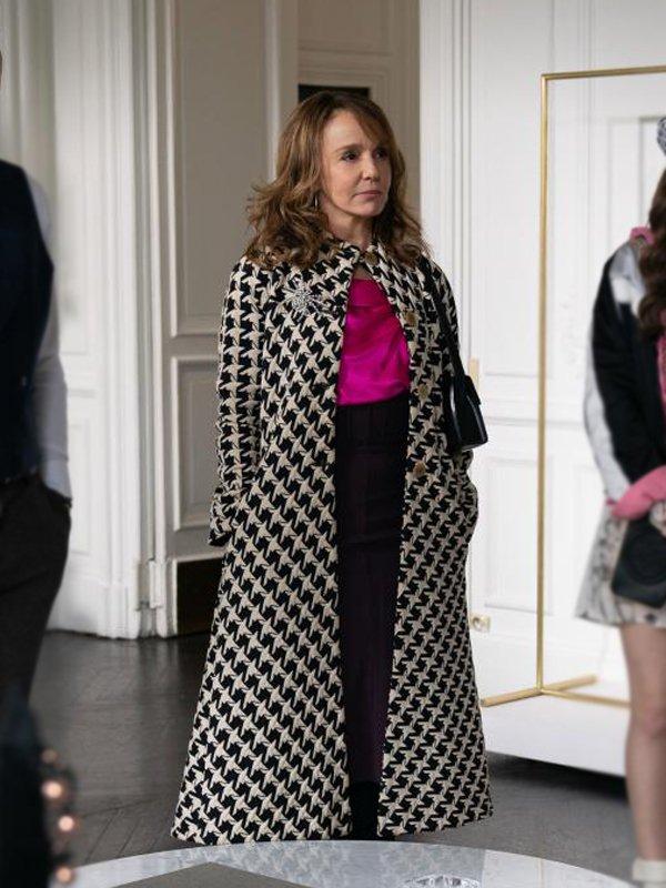 Emily In Paris Sylvie Grateau Checked Cloak Coat
