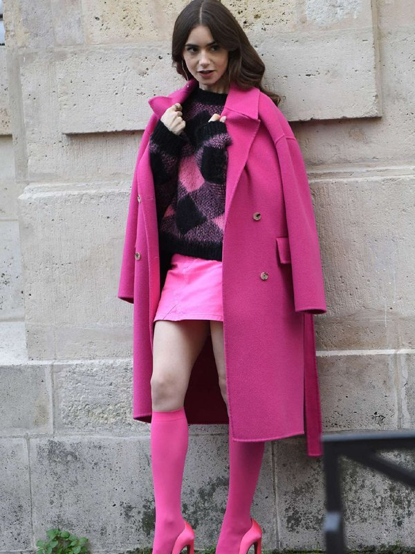 Emily in Paris Lily Collins Pink Trench Coat
