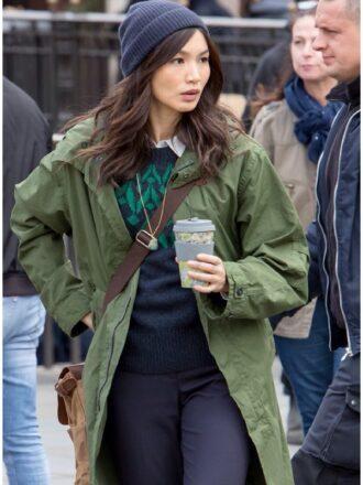 Gemma Chan The Eternals Sersi Green Cottan Coat