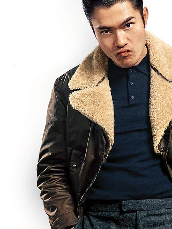 Henry Golding The Gentlemen Shearling Leather Jacket