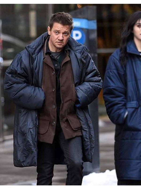 Jeremy Renner Hawkeye Blue Puffer Coat
