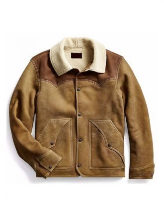 John Dutton Yellowstone S03 Kevin Costner Brown Shearling Leather Jacket