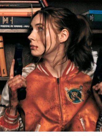 Karen Gillan Gunpowder Milkshake Eva Orange Bomber Jacket