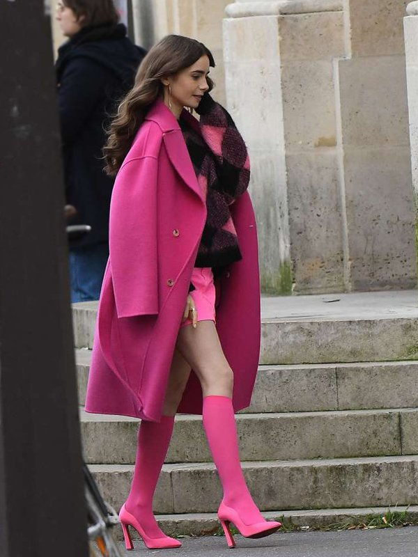 Lily Collins Emily In Paris Emily Cooper Pink Wool Trench Coat