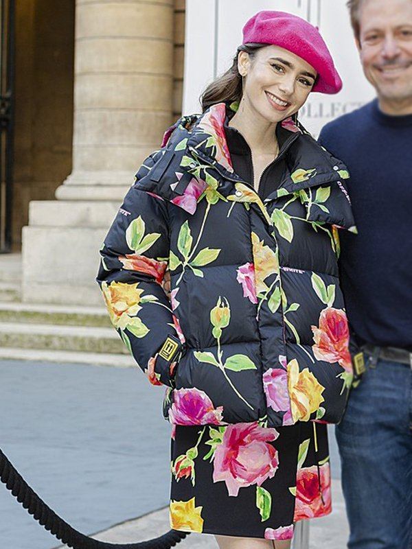 Lily Collins Emily In Paris Floral Hooded Jacket
