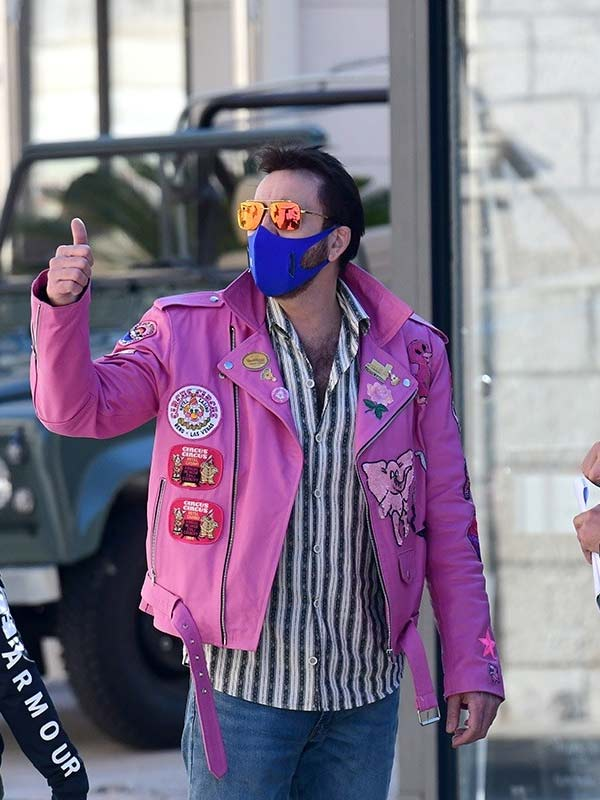 Nicolas Cage Pink Biker Leather Jacket With Patches