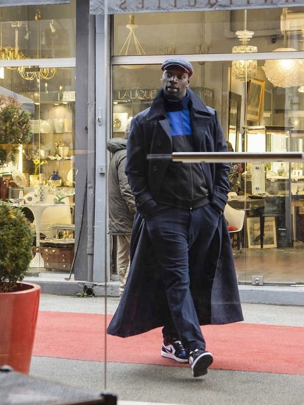 Omar Sy Lupin 2021 Arsene Diop Wool Black Trench Coat