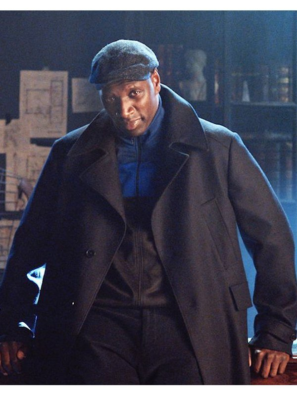 Omar Sy Lupin Arsene Diop Wool Black Coat