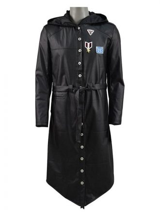 PUBG Black Leather Trench Coat