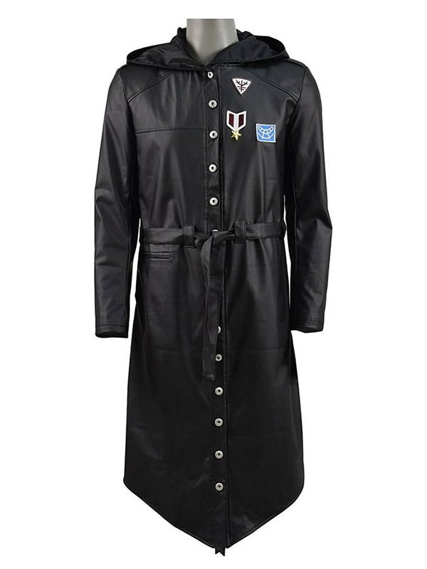 PUBG Black Leather Trench Coat