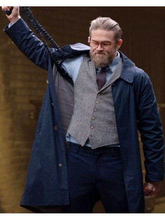 Ray The Gentlemen Charlie Hunnam Dark Blue Trench Coat