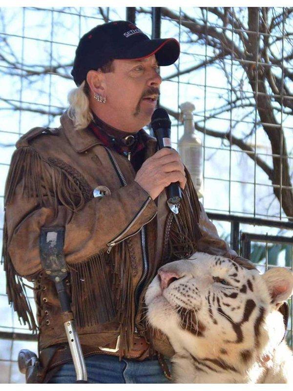 Tiger King Murder, Mayhem, and Madness Joe Exotic Brown Fringe Leather Jacket