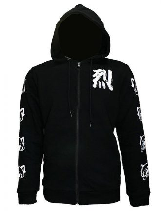 Tv Series Aggretsuko Sleeve Faces Black & White Zip-Up Hoodie
