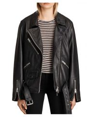 Tv Series Emily In Paris Camille Razat Black Biker Leather Jacket