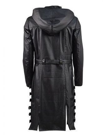 Video Game PUBG Black Hooded Leather Trench Coat