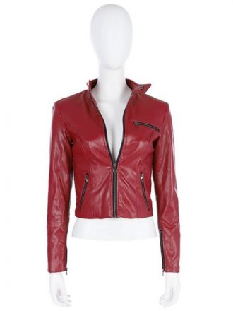 Video Game Resident Evil 2 Claire RedField Red Leather Jacket