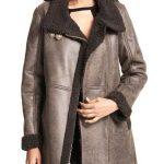 Women Asymmetrical Zip Shearling Leather Coat