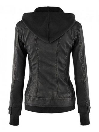 Women's Black Biker Leather Hooded Jacket