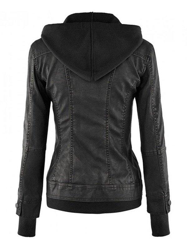 Women's Black Biker Leather Hooded Jacket