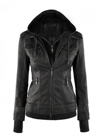 Women's Black Fitted Leather Bomber Jacket