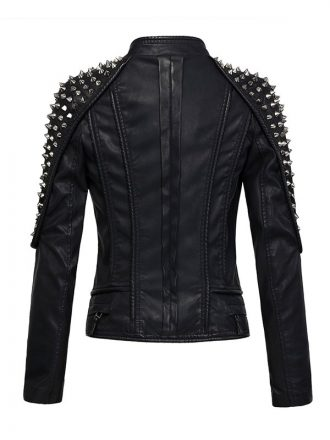 Women's Black Punk Stylish Studded Leather Moto Jacket