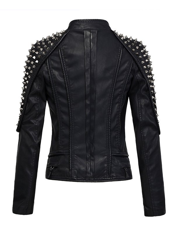 Women's Black Punk Stylish Studded Leather Moto Jacket
