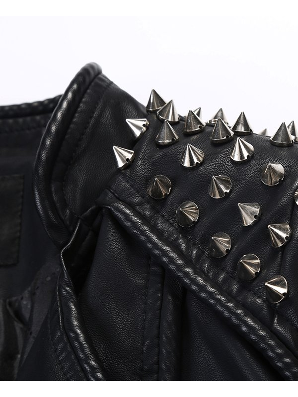 Women's Black Studded Leather Jacket