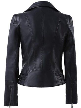 Women's Black Zip Up Motorcycle Leather Jacket
