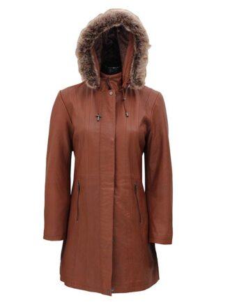 Women's Brown Fur Hooded Leather Coat