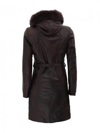 Women's Dark Brown Hooded Leather Coat With Fur Collar