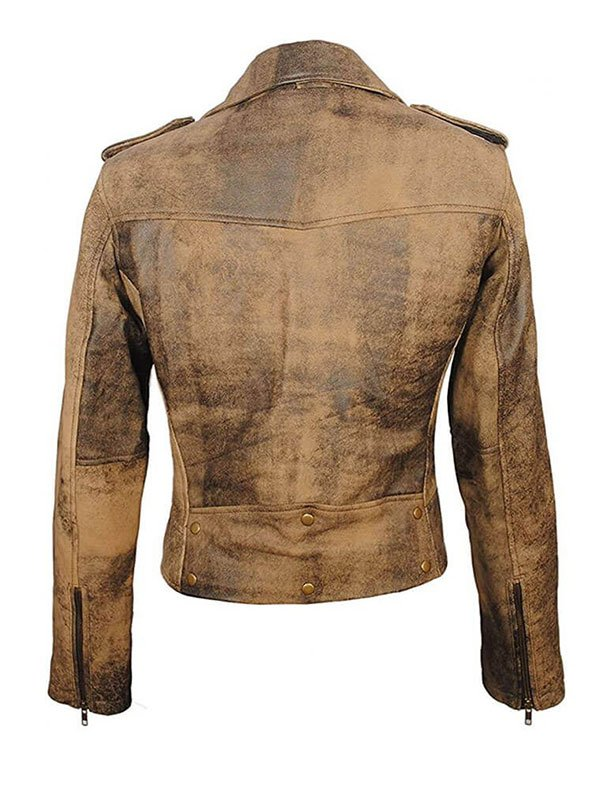 Women's Distressed Brown Motorcycle Leather Jacket