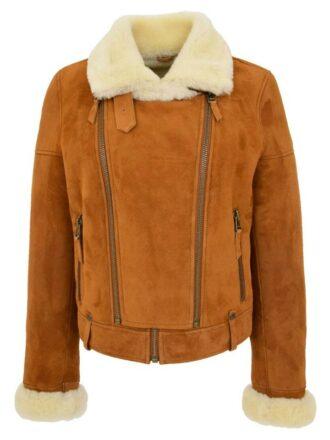 Women's Genuine Sheepskin Shearling Leather Jacket