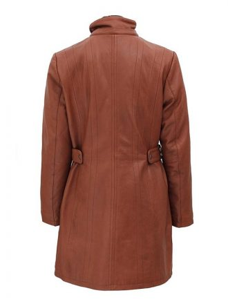 Women's Hooded Brown Leather Coat With Faux Fur Collar