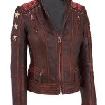 Women's Ox Blood Vintage Cafe Racer Leather Jacket