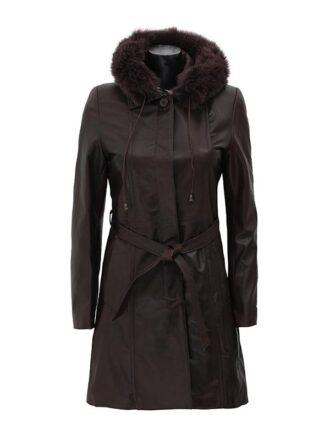 Women's Prato Hooded Brown Leather Coat
